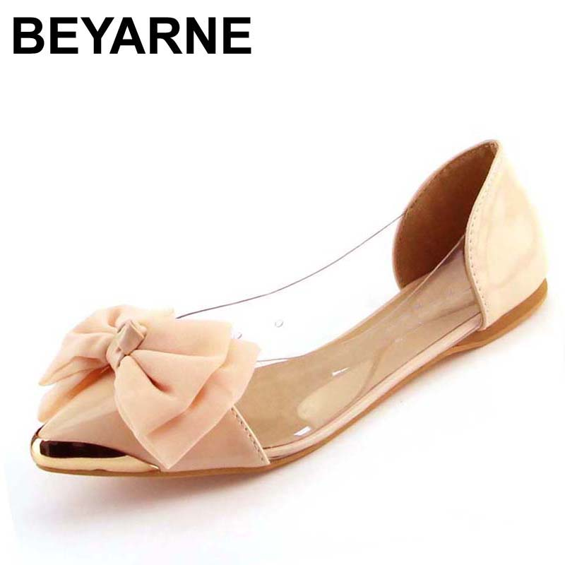 BEYARNE new spring summersweet women flats,pointed sequined toe with big bowtie shoes for women,cansual shoes free shipping beyarne hot sale new fashion spring women flats shoes ladies bow pointed toe slip on flat women s shoes free shipping size34 40