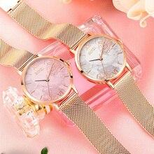 цена на Fashion Flower Marble Watch Women Dress Watches relogio feminino 2019 Luxury Brand Ladies Rose Gold Mesh Steel Quartz Wristwatch