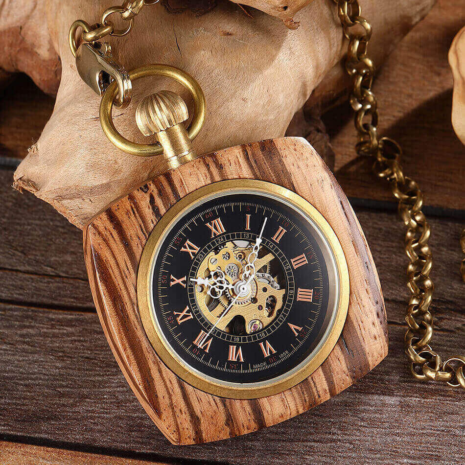 Square Wooden Mechanical Pocket Watch Chains Luxury Red Wooden Hand Winding Skeleton Fob Watches Men Women Clock Gifts Reloj