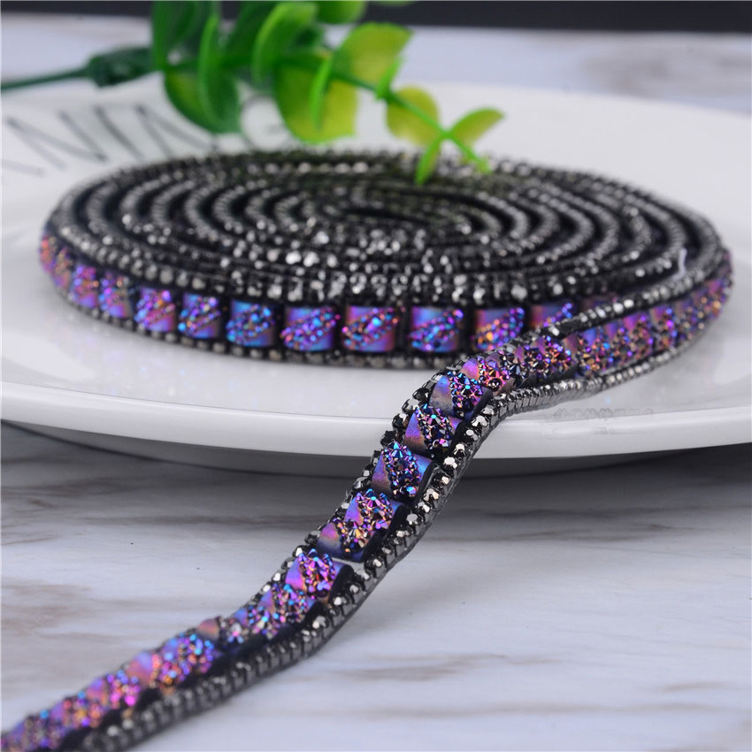 2 Yard/Lot Hotfix Rhinestone Trimming Glass Crystal Stone Ceramics Chian 1.2cm Width Fancy Banding Applique DIY Accessories