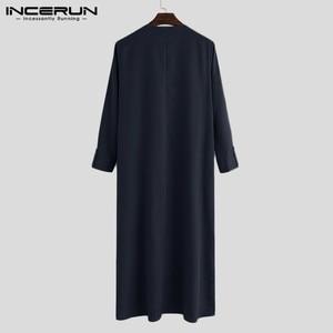 Image 5 - INCERUN, caftán islámico árabe, ropa musulmana para hombres, Túnica holgada de manga larga con cuello en V para hombres, Túnica Abaya Jubba Thobe de Arabia Saudita 2020
