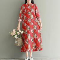 אדום נשים לחצן צווארון דוכן בסגנון הסיני Cheongsam שמלת פשתן הכותנה שרוול ארוך שמלות פרחוניות רופפות גלימה כהה כיס