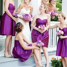 2015 Purple Bridesmaid Dress Sweetheart Sleeveless Pleat Satin A Line Knee-Length Robe Demoiselle Honneur Biridesmaid Dresses