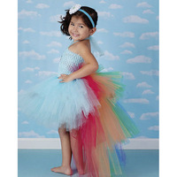Rainbow Pony Unicorn Bustle Tutu Dress Kids Birthday Photo Prop Halloween Costume Baby Infant Toddler Girls