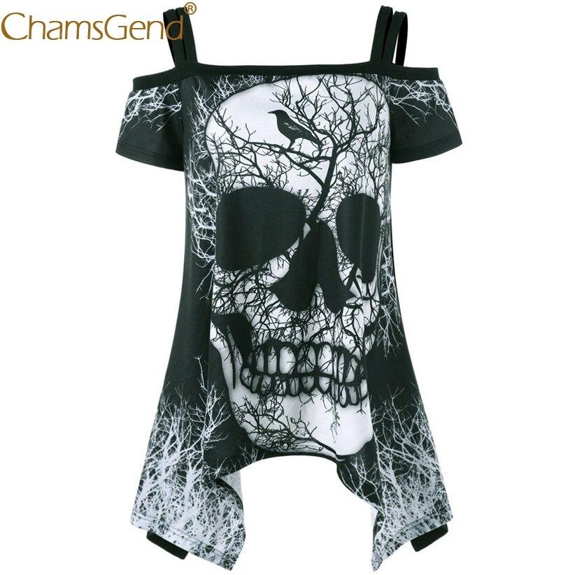Chamsgend Shirts Women Sexy Off Shoulder Skull Branches Print Summer T Shirt Irregular Black Tops 80404