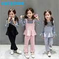 2-6 Years 2017 Spring Girls Clothing Sets Toddler Kids Butterfly Sleeve Top Striped T Shirt+Bib Dress+Casual Pants 3PCS Outfits