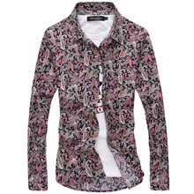 Free Shipping Male Spring Autumn Cotton Printed Floral Long Sleeve Shirt Mens Both Side Print Casual Men Shirts Plus Size