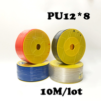 PU12*8 10M/lot Free shipping PU Pipe 12*8mm for air & water Pneumatic parts pneumatic hose ID 8mm OD 12mm