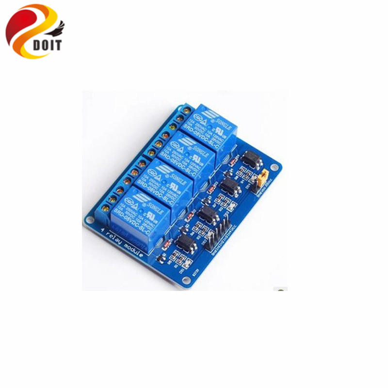4pcs 4 Channel Relay Shield Module with Light Coupling Output DC30V UNO R3 AC250V Raspberry pi pCduino Diy Kit RC Electronic Toy relay shield v2 0 5v 4 channel relay module