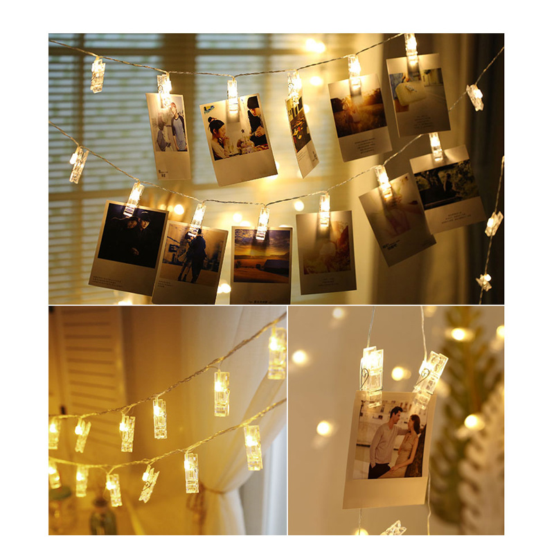 LED Card Pictures Photos Clips Peg String Lights Bright Battery Power Festival Party Wedding Valentines Decor Light Indoor Home