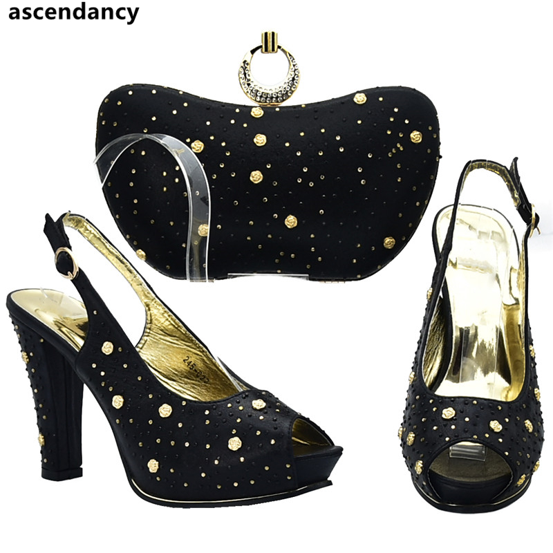 Nigeriano Nueva De Zapato Partido negro Con Conjunto Decorado Para Bolsa Bolsos rojo Emparejar La Venta Boda fuchsia oro Sliver Mujeres purple Zapatos Rhinestone Las Llegada Y Del CwqAfv