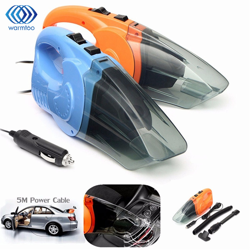 Portable 12V 120W Car Vacuum Cleaner Wet And Dry Dual Use Auto Cigarette Lighter Hepa Filter Orange Blue With 16FT Cord 5 Meter 2016 new arrival durable quality hot selling abs 120 w high power car with dry wet amphibious cleaner hose