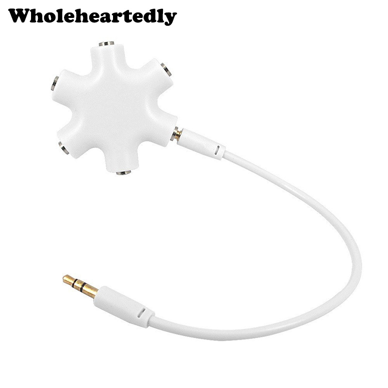New <font><b>5</b></font>-Way <font><b>3</b></font>.5mm Stereo Headset Headphone Earphone Extension Audio Hub Splitter Adapter 1 Male to <font><b>2</b></font> <font><b>3</b></font> 4 <font><b>5</b></font> Female Audio <font><b>Cable</b></font> image