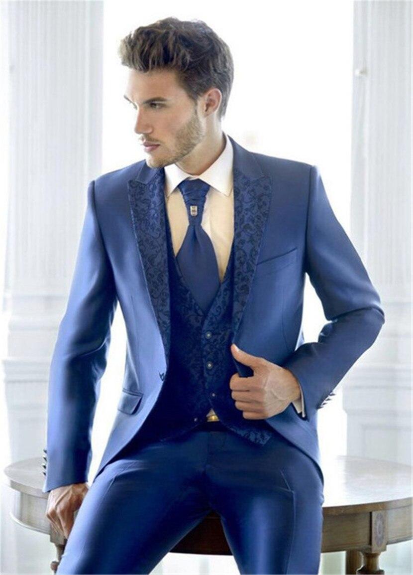 2019 Men's Suit Latest Design Blue Black Custom Wedding Dress 3pcs(jacket+ pants + vest + tie + face towel)