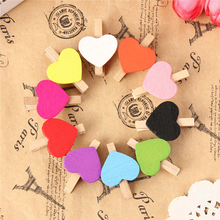 50Pcs Pack Mini Heart Love Wooden Clothes Photo Paper Peg Pin Clothespin Craft Postcard Clips Home