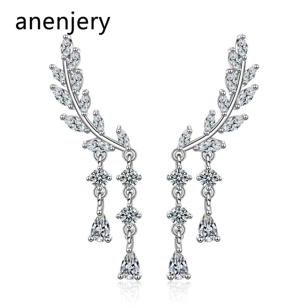 Anenjery Charming 925 Sterling Silver Zircon Wing Water Drop Long Tassel Earrings For Women Gift Boucle D'oreille S-E818