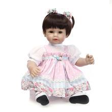 Nicery 20inch 50cm Lifelike Reborn Baby Lovely Girl Doll High Vinyl Christmas Toy Gift for Children White Hat Dress