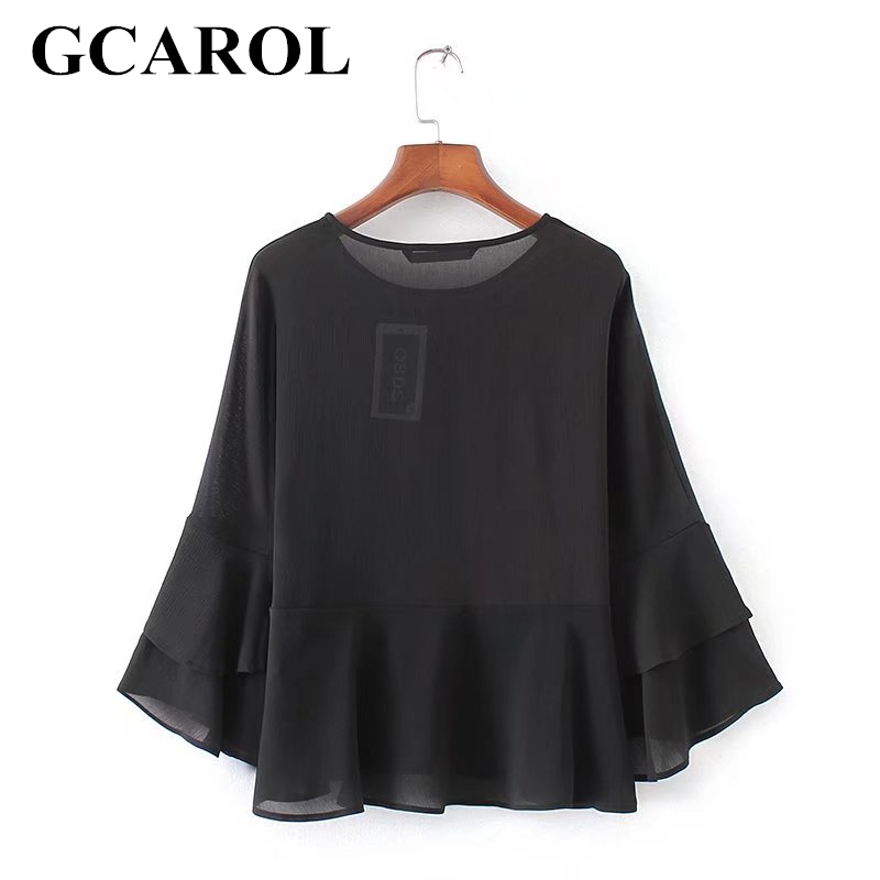 GCAROL 2018 New Arrival Double Layers Women Chiffon Blouse O Neck Flare Sleeve Design Tops High Quality Spring Summer Basic Top