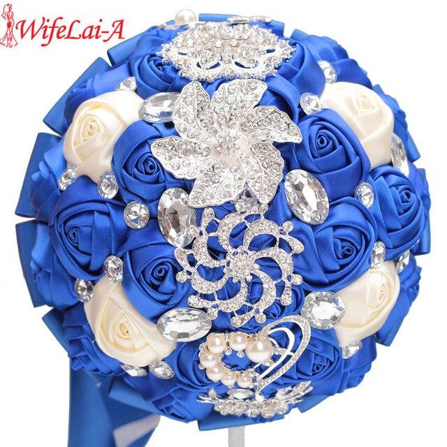 WifeLai-A Custom Royal Blue Ivory Brooch Bridal Hand Holding Flower Bouquets Bridesmaid Crystal Silk Wedding Bouquet W228-17