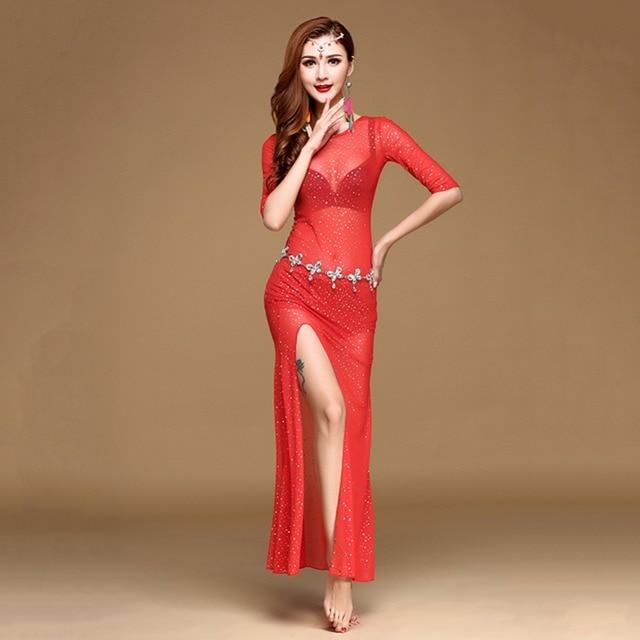 2017 mujeres danza del vientre vestido Lentejuelas etapa de Bollywood  bellydance Falda larga gitana Faldas cinto 11b8db47e8da