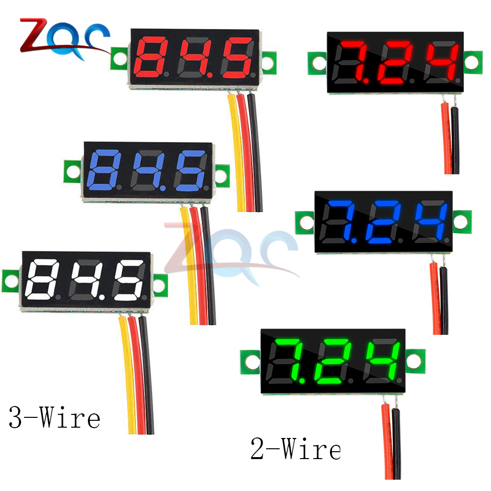 0.28 Inch DC 0-100V 3.5-30V 2 3 Wire Mini Gauge Voltage Meter Voltmeter LED Display Digital Panel Voltmeter Detector Monitor