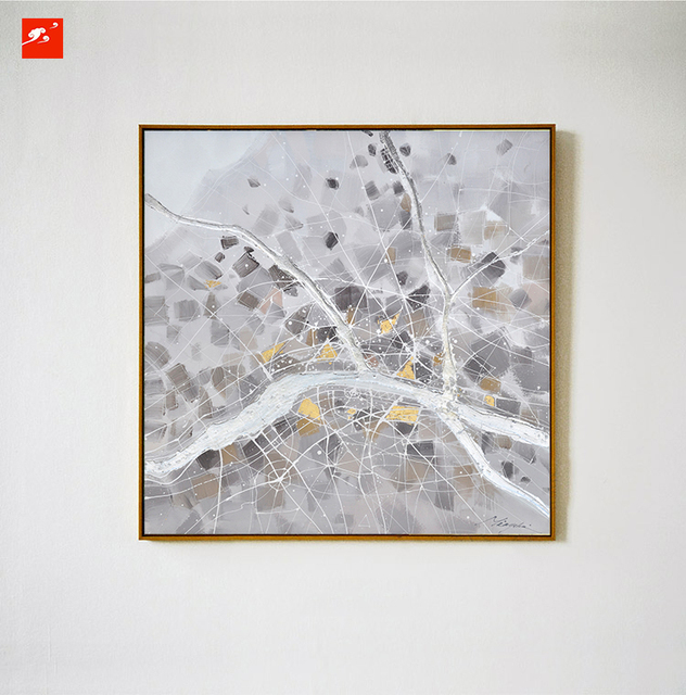 simple grey nordic naturism abstract wall art oil painting on