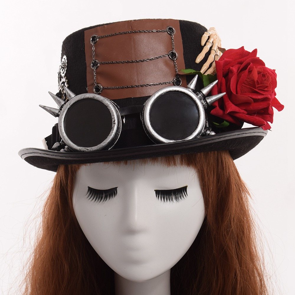 Unisex Vintage Women Fedora Gothic Punk Style Top Hat Glasses Rose Hand Decoration