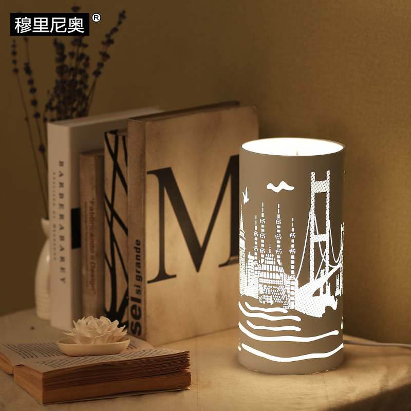 The modern bedroom lamp / lamp bedside City hollow iron simple night light dimming lamp riggs r hollow city