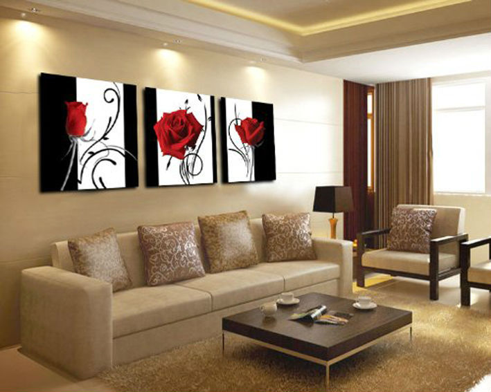 online shop 3 panel red rose home decorative canvas painting