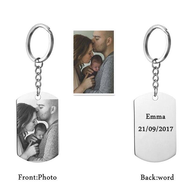 Personnalisé bricolage Tag Photo porte-clés en acier inoxydable gravé photographie porte-clés porte-clés breloque porte-clés bijoux