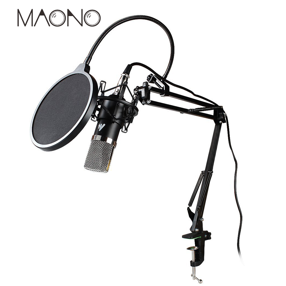 MAONO professional condenser microphone stand Mic Voice Amplifier pop filter for computer audio studio vocal Rrecording karaoke heat live broadcast sound card professional bm 700 condenser mic with webcam package karaoke microphone