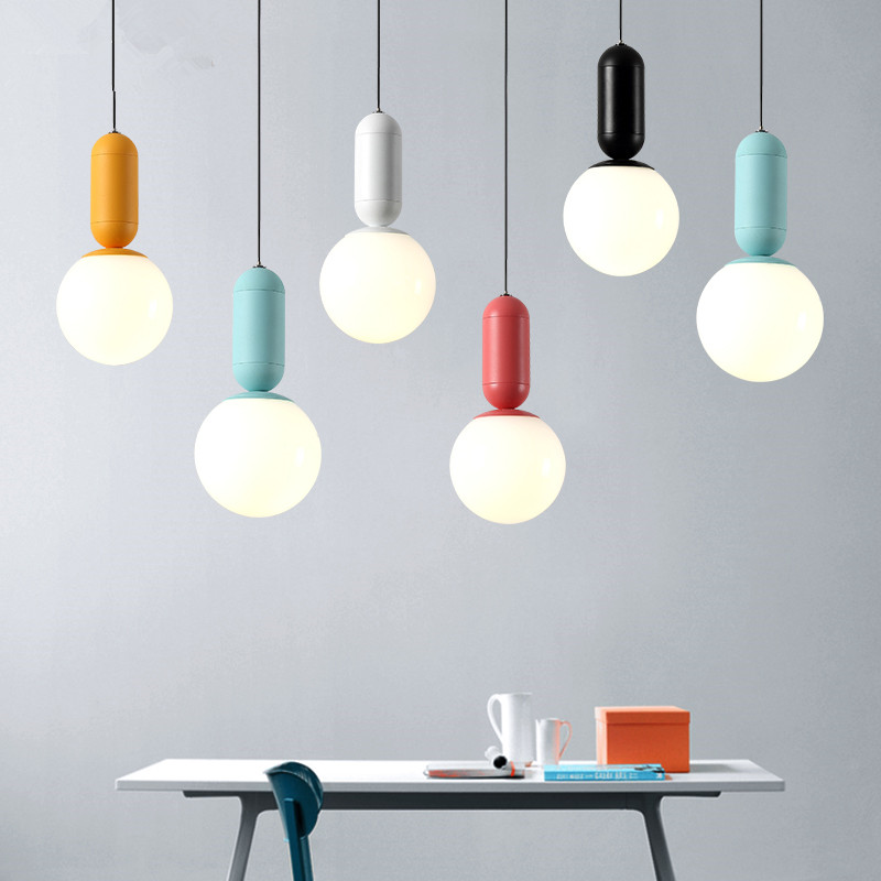 Modern Pendant Lights Ball LED Pedant Lamp Macaron Hanging Lamp For Kitchen bedroom Children Room luminaria Light FixturesModern Pendant Lights Ball LED Pedant Lamp Macaron Hanging Lamp For Kitchen bedroom Children Room luminaria Light Fixtures