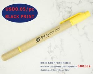 Image 2 - Lot 50 stücke Ball stift Highlighter ECO Papier Stift 2 in 1 Kugelschreiber Fluoreszierende Werbe Personalisierte Geschenk Anpassen Messe Giveaway