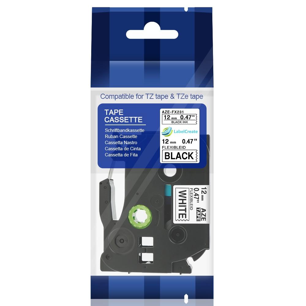 Brother TZFX231 Flexible cable 12mm black on white PT1090 PT1290 PT1830 GL100 TZ