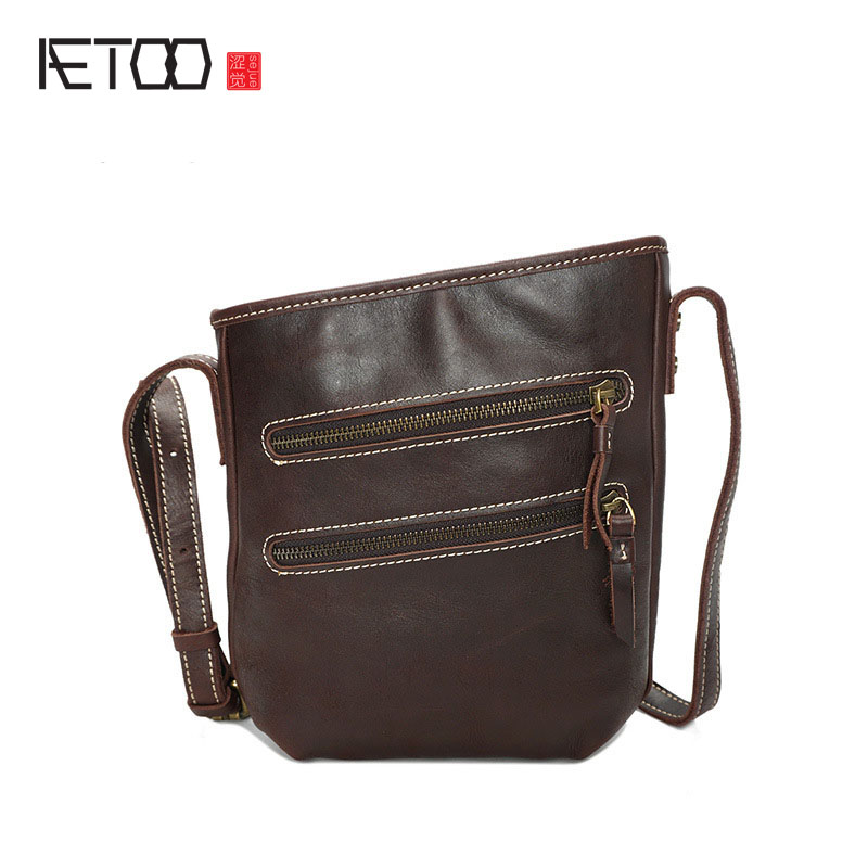 AETOO Oil light leather shoulder bag men and women leather bag retro trend vertical section cow leather bag head layer Messenger цена