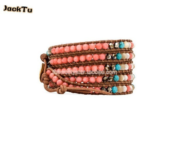 coral with crytal and pearl 5 wrap leather bracelet