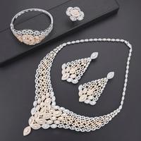 Missvikki очаровательные блестящие Роскошные Павлин в форме пера благородное большое ожерелье серьги браслеты кольцо ювелирный набор для женщ