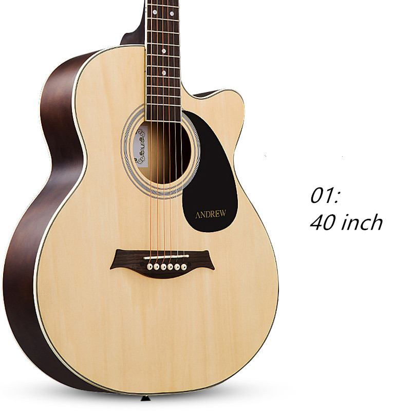 40 inch Acoustic Folk 6-String Guitar for Beginners Students Gift Basswood Rosewood Closed Knob top quality 38 guitar acoustic guitar folk 6 string guitar spruce colour free shipping