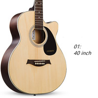40 Inch Acoustic Folk 6 String Guitar For Beginners Students Gift Basswood Rosewood Closed Knob