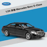 High Simulation WELLY 1:24 Classical Diecast Car Benz S-Class Metal Alloy Model Car Toys For Children Gift Toy Car Collection