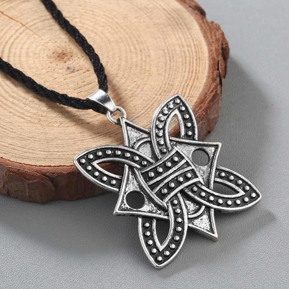 Qiming Besar Viking Dikepang Borre Simpul Norse Celtic Liontin Perak Perhiasan Natal Terbaik Teman Kalung Wanita Pria Perhiasan