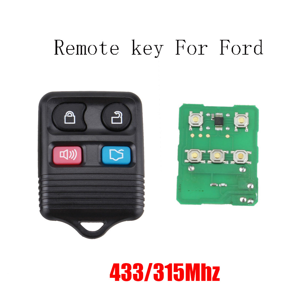 4 Buttons Replacement Keyless Entry Remote Control Key Fob Clicker for Ford Exchanged Mustang Taurus CWTWB1U345 315MHz/433mhz 2003 03 ford taurus pink keyless entry remote 4 button
