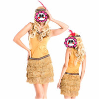 Abbille Hot Sale Tassels Indian Queen Costume Womens Native American Indian Wild West Fancy Dress Party