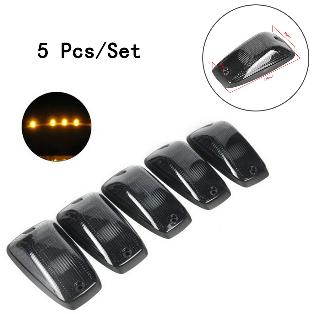 Cab Roof Running Marker Lamp Amber Yellow 12V 10W 5pcs/set T10 Connector For SUV/Truck/RV/Van/Jeep Black Smoked Lens