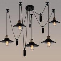 Лофт промышленный Железный шкив паук подвесные светильники Американский Винтаж гостиная спальня бар Эдисон подвесные светильники