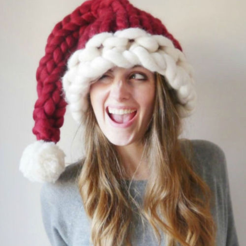 Autumn&Winter Gorro Unisex Christmas Hat Warm Knitting Hat Family Casual Crochet Red Caps