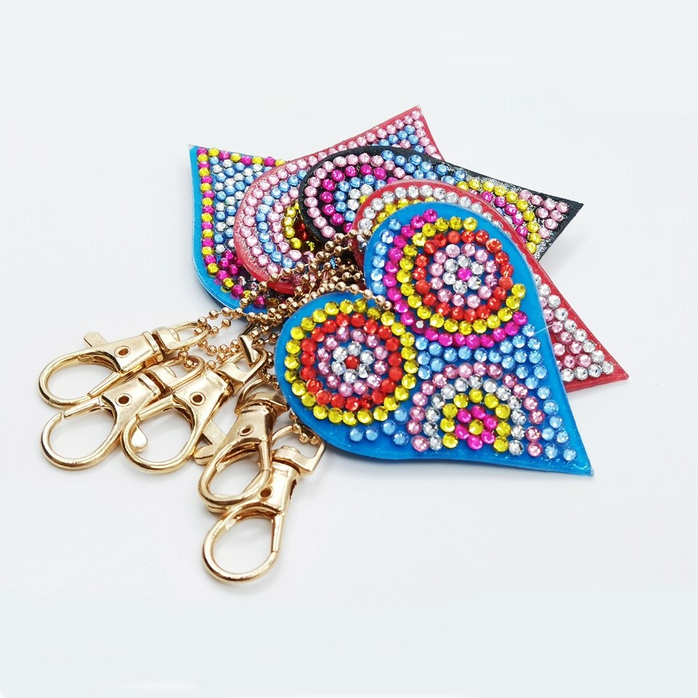 1 Set Mixed Style Diamond Key Ring Love Heart Keychain Animal Key Ring Diamond Embroidery Painting Gift Cross Stitch Needlework