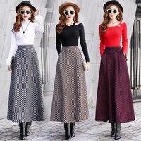 Fashion Houndstooth Skirt 2018 New Women Autumn Winter High Waist Large Swing Skirts Long Woolen Skirts Female Plaid Skirt X163