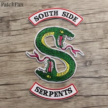 Patchfan 90s fashion Riverdale Green snake Southside Serpents DIY embroideried patches iron on clothes backpack hat badges A1301(China)