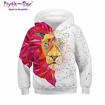 Dla dzieci sportowe bluzy z kapturem lew wilk drukuj dzieci bluzy Junior dziecko z długim rękawem hip hop sweter 4-13y chłopiec dziewczyna z kapturem sweter tanie i dobre opinie Dzianiny Pełna Poliester Myth-box Pasuje prawda na wymiar weź swój normalny rozmiar Szybkie suche V-neck Knitted Kids Sweatshirts